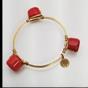 Bourbon & Bowties Wire Bangle Bracelet Gold Coral